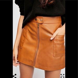 Free People High A-Line Vegan Leather Skirt